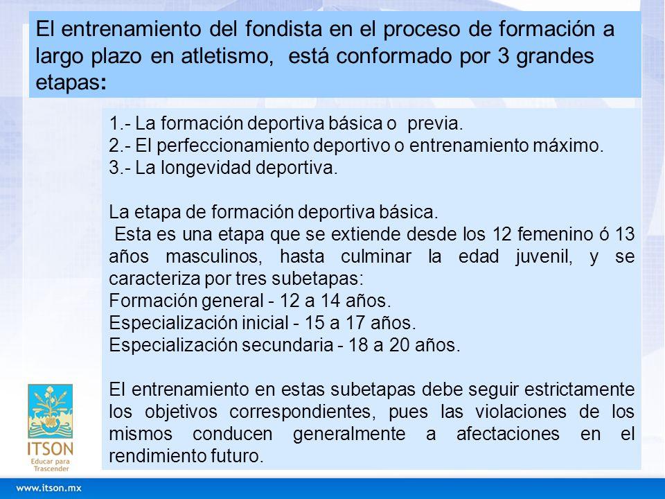 El entrenamiento del fondista en el proceso de formación a largo plazo en atletismo, está conformado por 3 grandes etapas: 1.- La formación deportiva