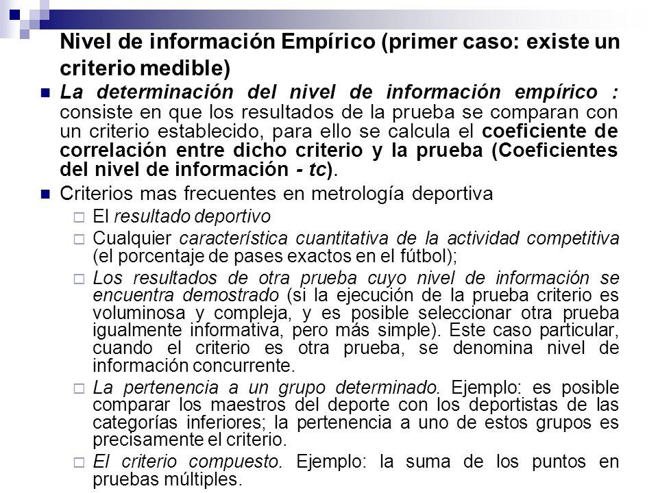 La determinación del nivel de información empírico : consiste en que los resultados de la prueba se comparan con un criterio establecido, para ello se