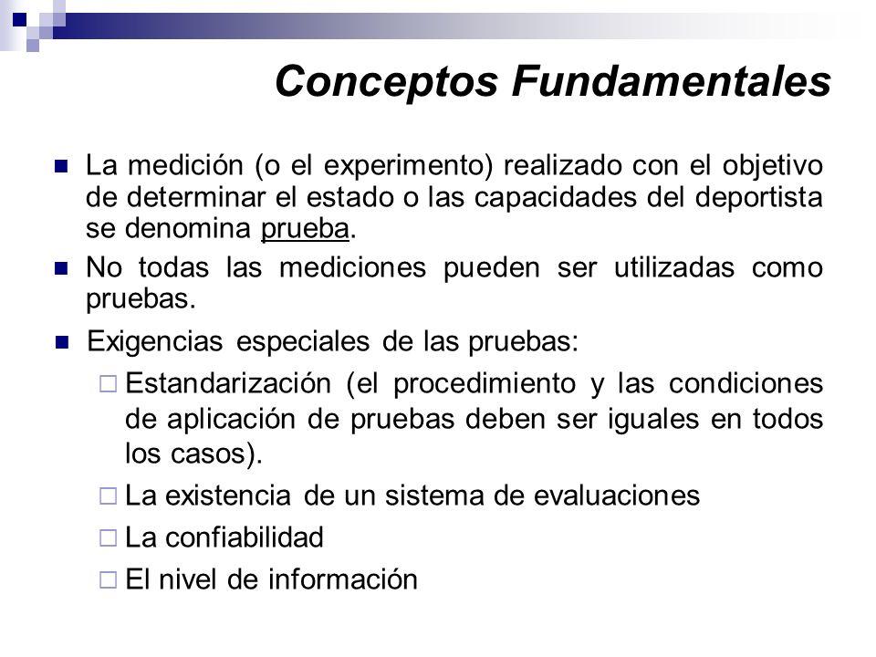 Conceptos Fundamentales La medición (o el experimento) realizado con el objetivo de determinar el estado o las capacidades del deportista se denomina