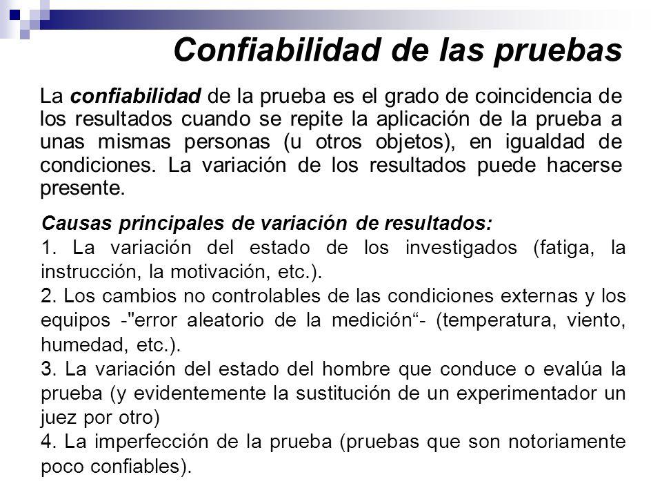 Confiabilidad de las pruebas La confiabilidad de la prueba es el grado de coincidencia de los resultados cuando se repite la aplicación de la prueba a