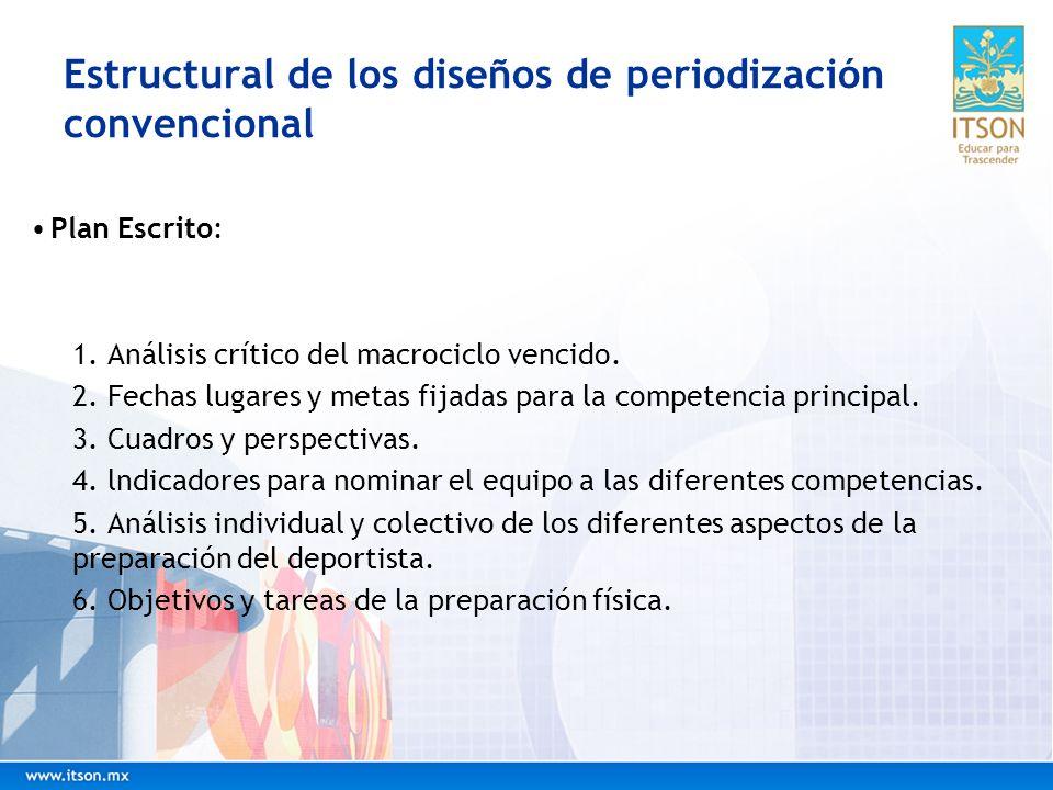 Estructural de los diseños de periodización convencional Plan Escrito: 1. Análisis crítico del macrociclo vencido. 2. Fechas lugares y metas fijadas p