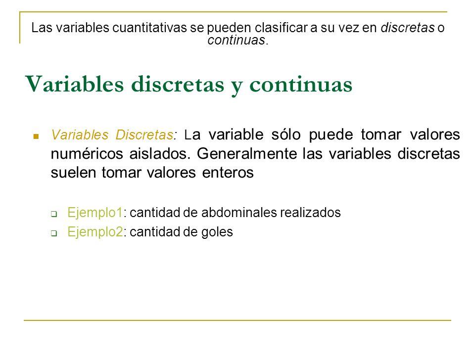 Variables discretas y continuas Variables Discretas: L a variable sólo puede tomar valores numéricos aislados. Generalmente las variables discretas su