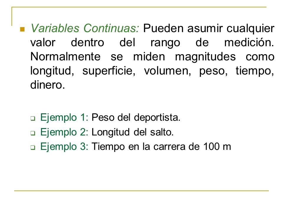Variables Continuas: Pueden asumir cualquier valor dentro del rango de medición. Normalmente se miden magnitudes como longitud, superficie, volumen, p
