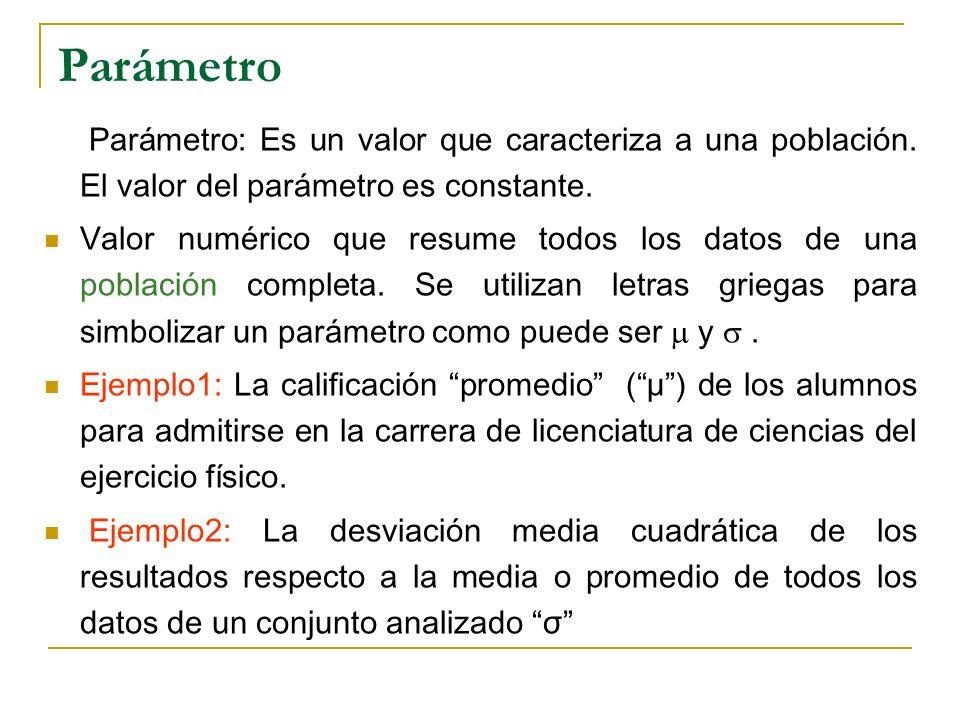 Parámetro Parámetro: Es un valor que caracteriza a una población. El valor del parámetro es constante. Valor numérico que resume todos los datos de un