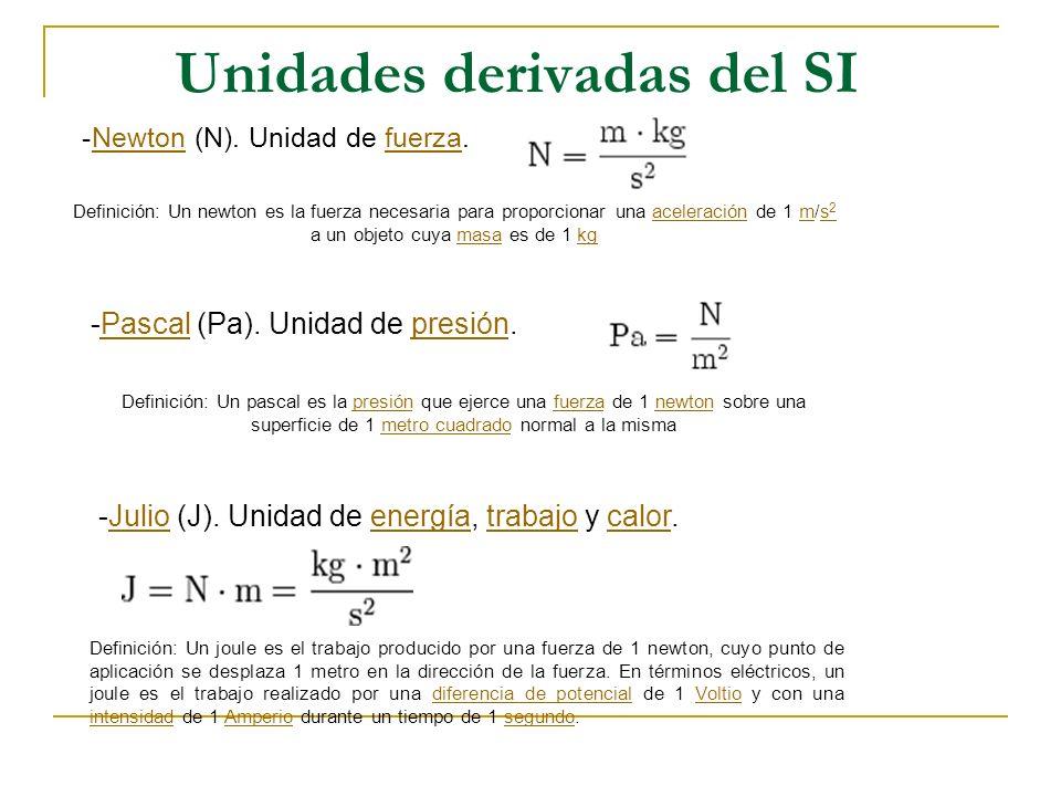 Unidades derivadas del SI -Newton (N). Unidad de fuerza.Newtonfuerza Definición: Un newton es la fuerza necesaria para proporcionar una aceleración de