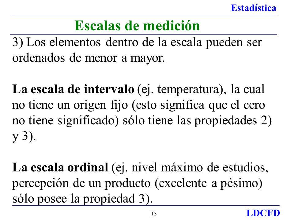 Estadística LDCFD 13 Escalas de medición 3) Los elementos dentro de la escala pueden ser ordenados de menor a mayor. La escala de intervalo (ej. tempe