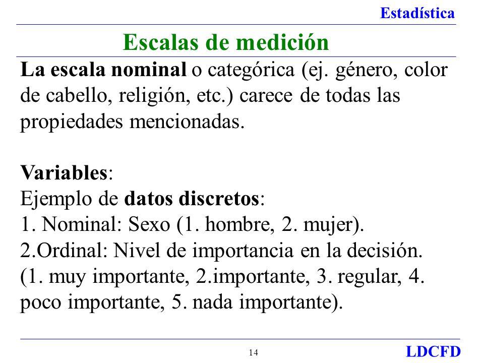 Estadística LDCFD 14 Escalas de medición La escala nominal o categórica (ej. género, color de cabello, religión, etc.) carece de todas las propiedades
