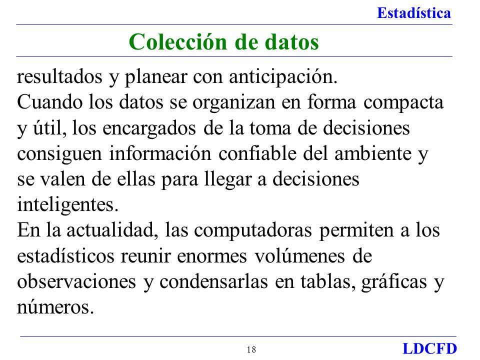 Estadística LDCFD 18 Colección de datos resultados y planear con anticipación. Cuando los datos se organizan en forma compacta y útil, los encargados