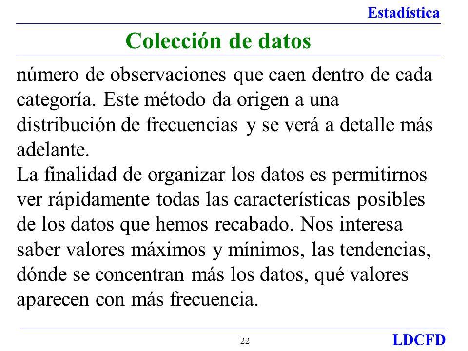 Estadística LDCFD 22 Colección de datos número de observaciones que caen dentro de cada categoría. Este método da origen a una distribución de frecuen