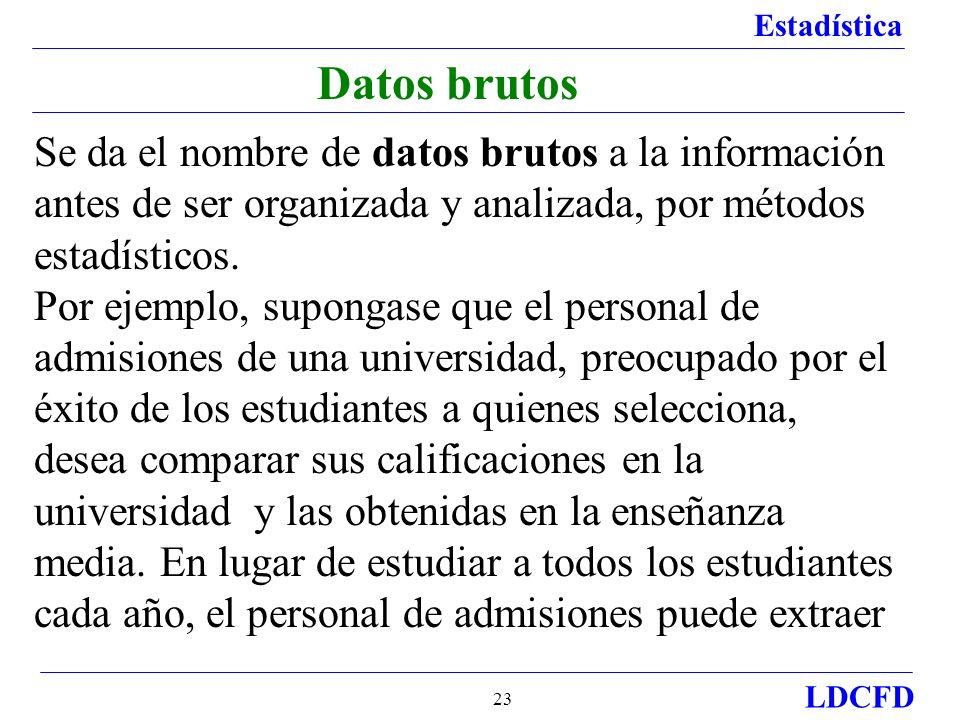 Estadística LDCFD 23 Datos brutos Se da el nombre de datos brutos a la información antes de ser organizada y analizada, por métodos estadísticos. Por