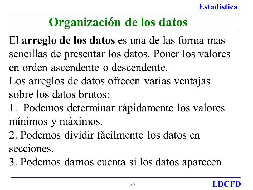 Estadística LDCFD 25 Organización de los datos El arreglo de los datos es una de las forma mas sencillas de presentar los datos. Poner los valores en
