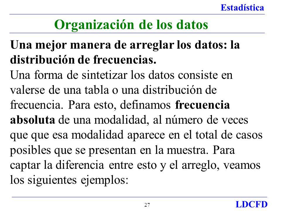 Estadística LDCFD 27 Organización de los datos Una mejor manera de arreglar los datos: la distribución de frecuencias. Una forma de sintetizar los dat