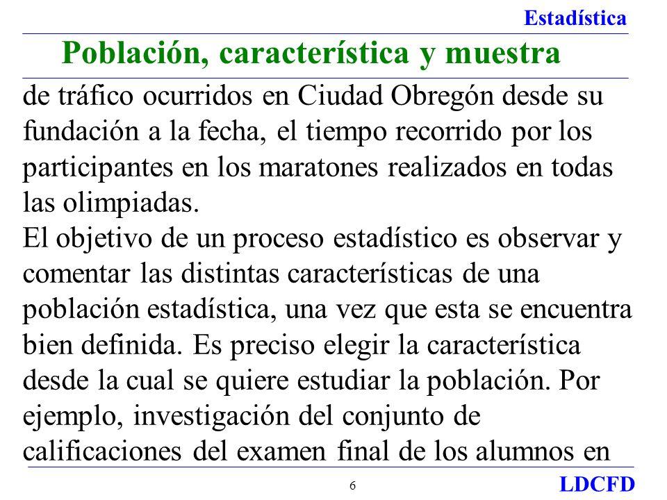 Estadística LDCFD 6 Población, característica y muestra de tráfico ocurridos en Ciudad Obregón desde su fundación a la fecha, el tiempo recorrido por