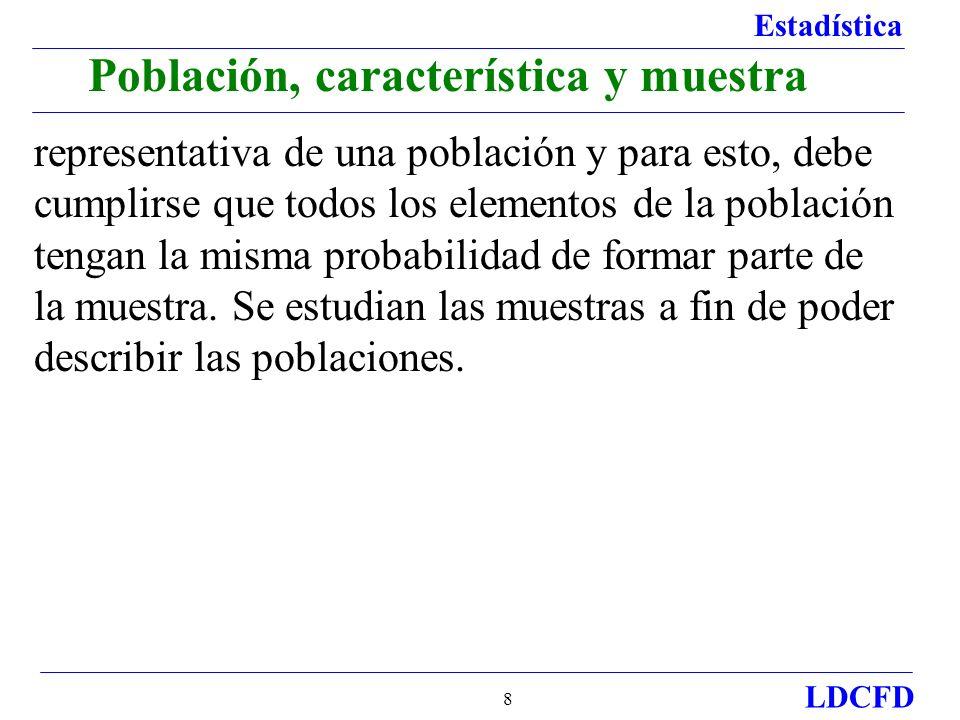Estadística LDCFD 9 Características: Cualitativas y cuantitativas Características cualitativas.