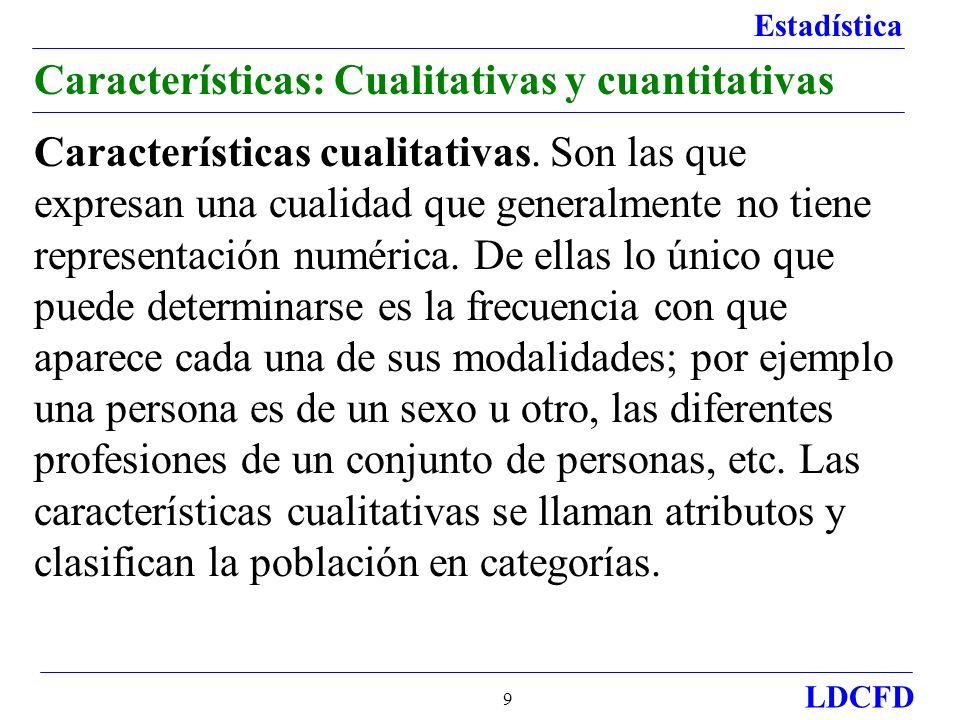 Estadística LDCFD 10 Características: Cualitativas y cuantitativas Características cuantitativas.