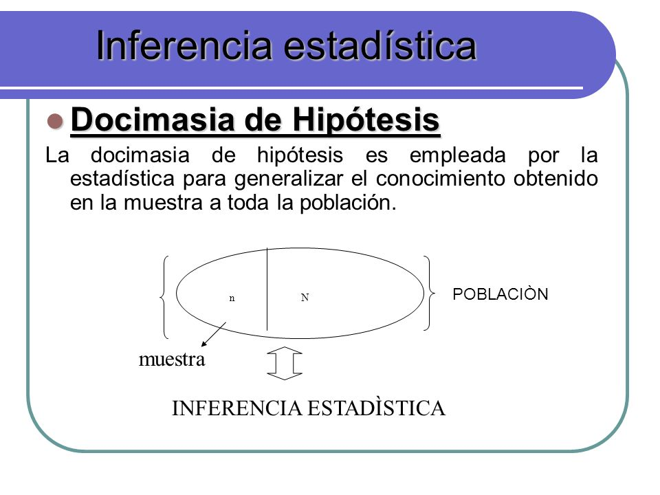 Docimasia de Hipótesis Docimasia de Hipótesis La docimasia de hipótesis es empleada por la estadística para generalizar el conocimiento obtenido en la muestra a toda la población.