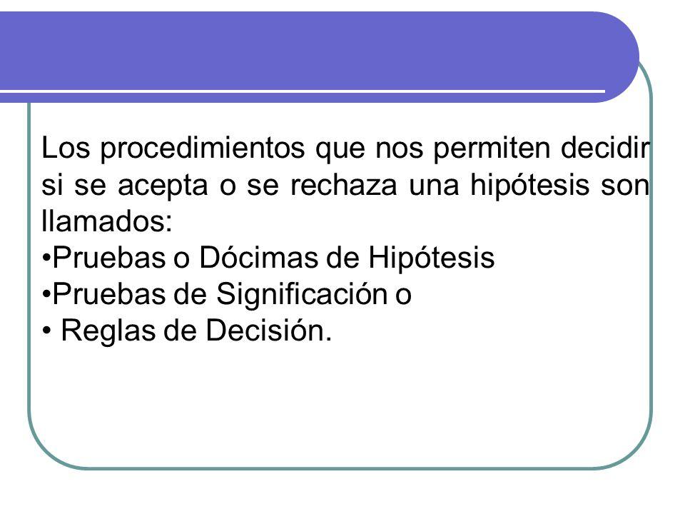 Los procedimientos que nos permiten decidir si se acepta o se rechaza una hipótesis son llamados: Pruebas o Dócimas de Hipótesis Pruebas de Significación o Reglas de Decisión.