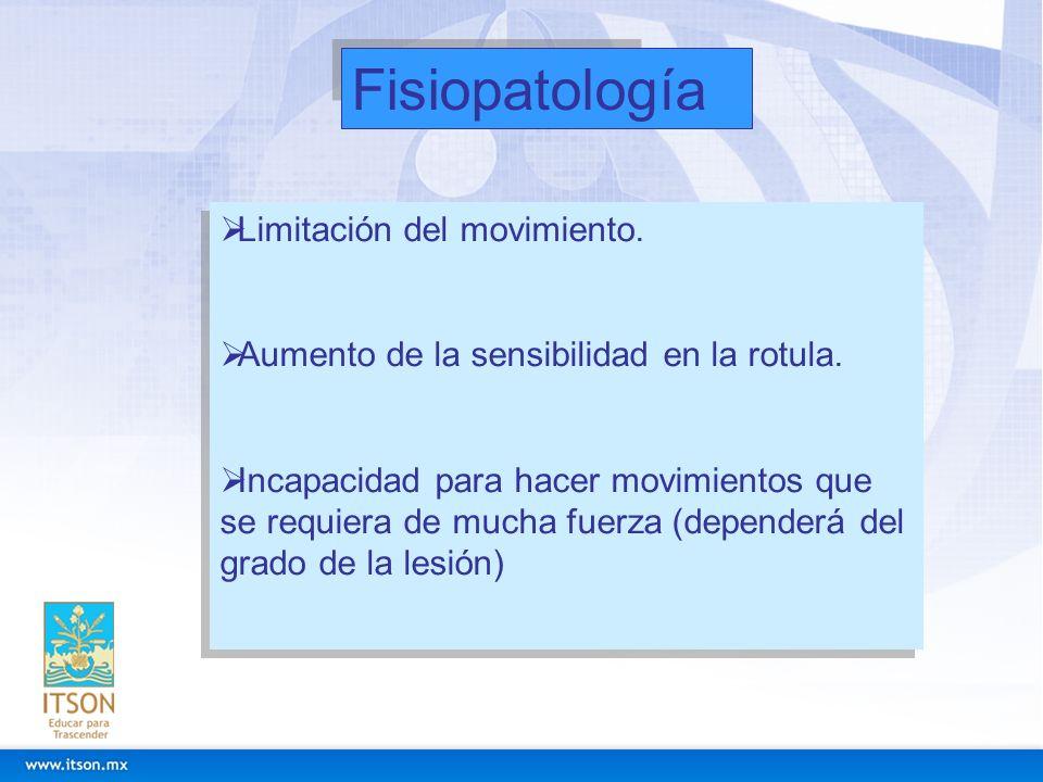 Fisiopatología Limitación del movimiento. Aumento de la sensibilidad en la rotula. Incapacidad para hacer movimientos que se requiera de mucha fuerza