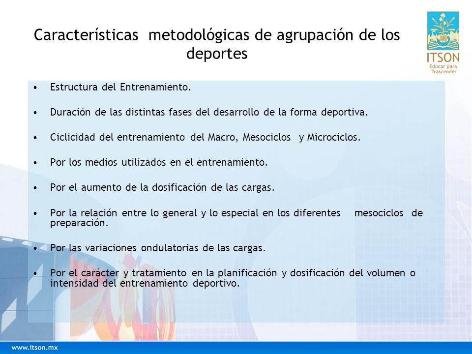 Características metodológicas de agrupación de los deportes Estructura del Entrenamiento.
