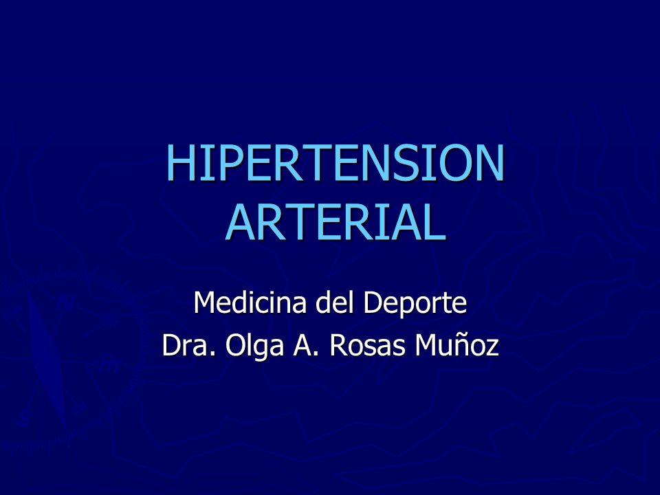 HIPERTENSION ARTERIAL Medicina del Deporte Dra. Olga A. Rosas Muñoz