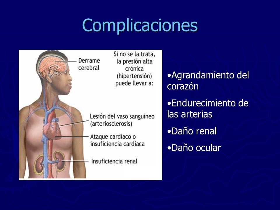Complicaciones Agrandamiento del corazón Endurecimiento de las arterias Daño renal Daño ocular