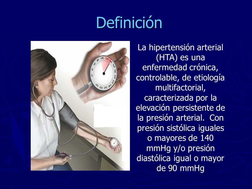 Definición La hipertensión arterial (HTA) es una enfermedad crónica, controlable, de etiología multifactorial, caracterizada por la elevación persiste