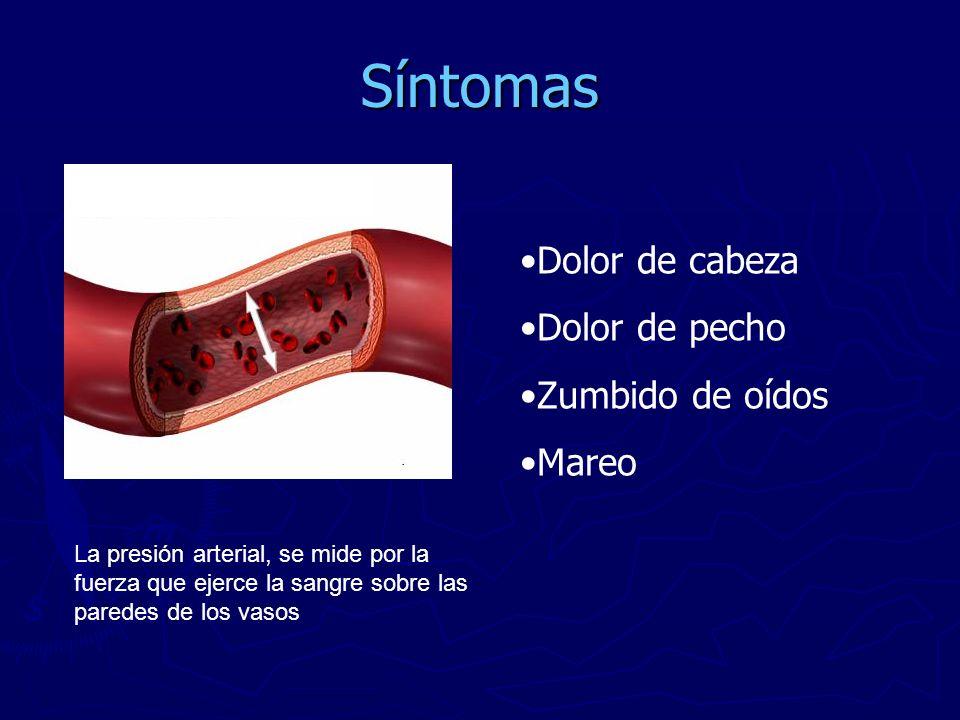Síntomas Dolor de cabeza Dolor de pecho Zumbido de oídos Mareo La presión arterial, se mide por la fuerza que ejerce la sangre sobre las paredes de lo