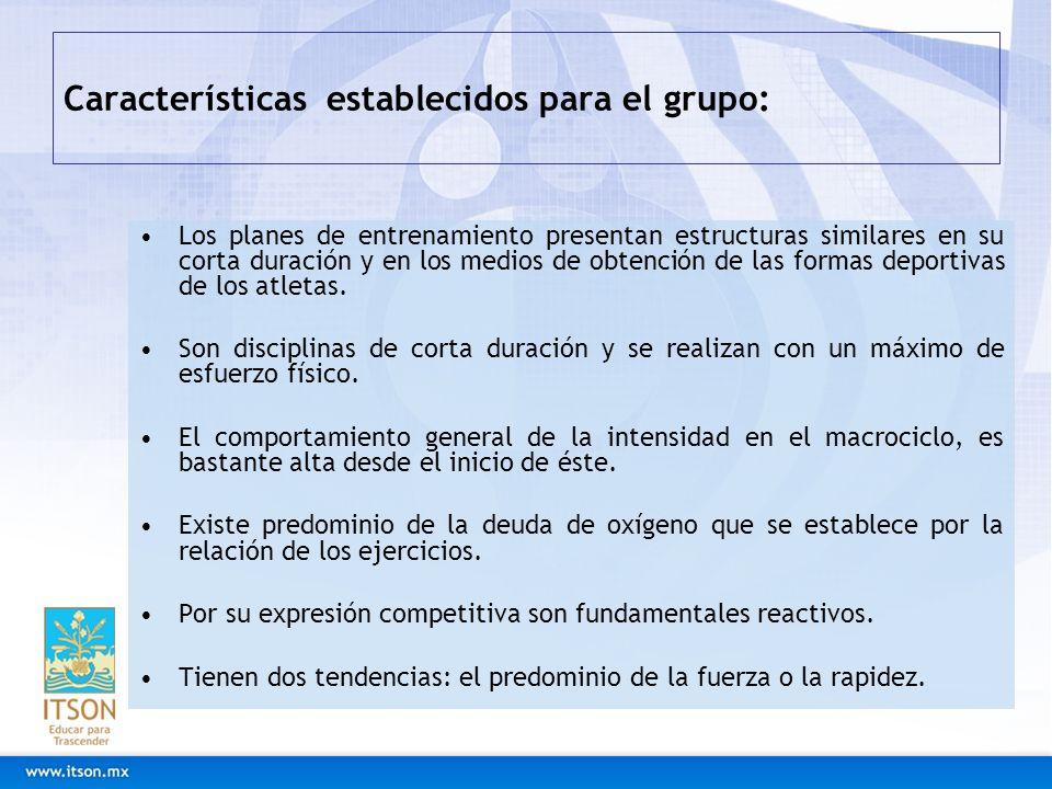 Características establecidos para el grupo: Los planes de entrenamiento presentan estructuras similares en su corta duración y en los medios de obtenc