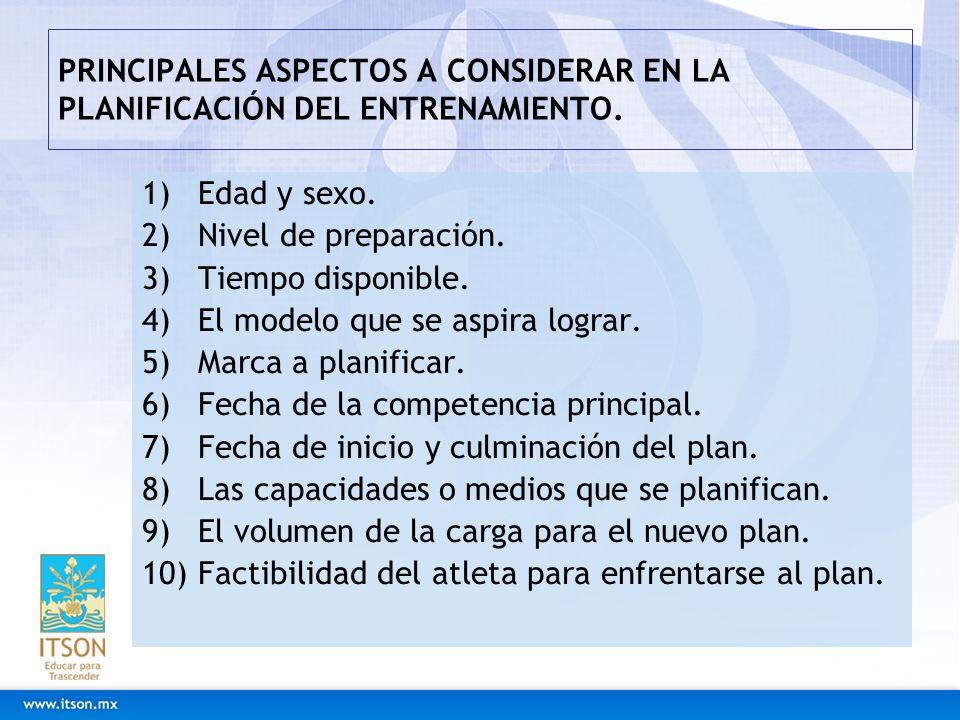 PRINCIPALES ASPECTOS A CONSIDERAR EN LA PLANIFICACIÓN DEL ENTRENAMIENTO. 1)Edad y sexo. 2)Nivel de preparación. 3)Tiempo disponible. 4)El modelo que s