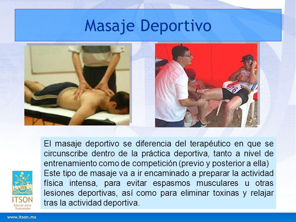 Masaje Deportivo El masaje deportivo se diferencia del terapéutico en que se circunscribe dentro de la práctica deportiva, tanto a nivel de entrenamie