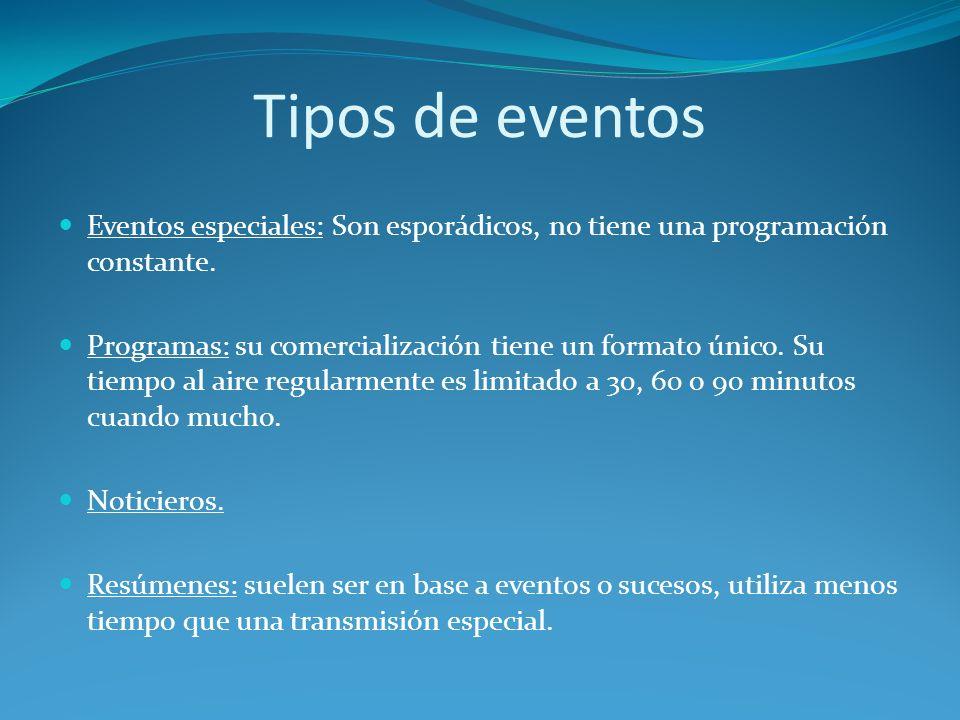Tipos de eventos Eventos especiales: Son esporádicos, no tiene una programación constante. Programas: su comercialización tiene un formato único. Su t