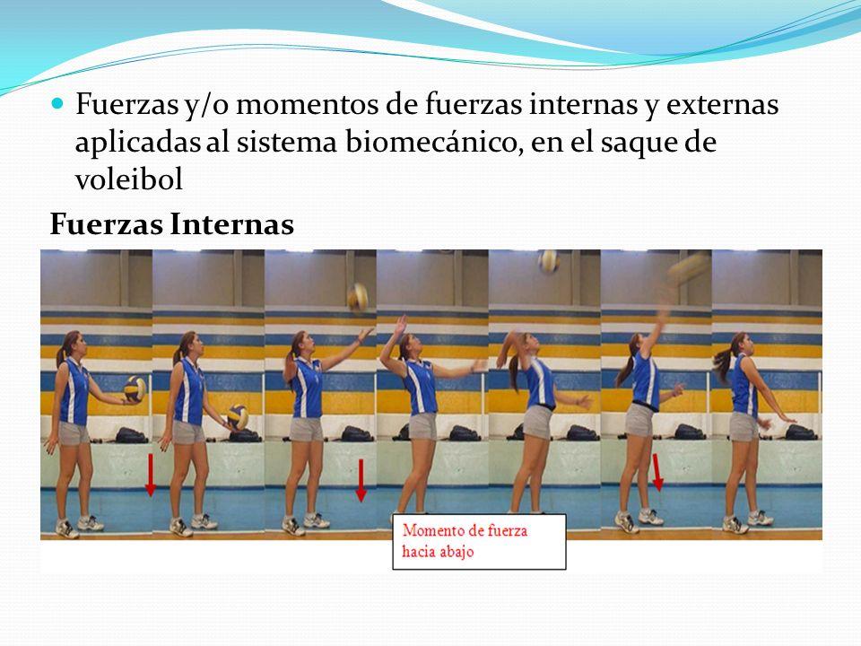 Fuerzas y/o momentos de fuerzas internas y externas aplicadas al sistema biomecánico, en el saque de voleibol Fuerzas Internas