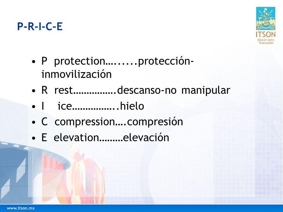 P-R-I-C-E P protection…......protección- inmovilización R rest…………….descanso-no manipular I ice……………..hielo C compression….compresión E elevation………el