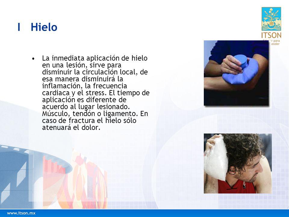 I Hielo La inmediata aplicación de hielo en una lesión, sirve para disminuir la circulación local, de esa manera disminuirá la inflamación, la frecuen