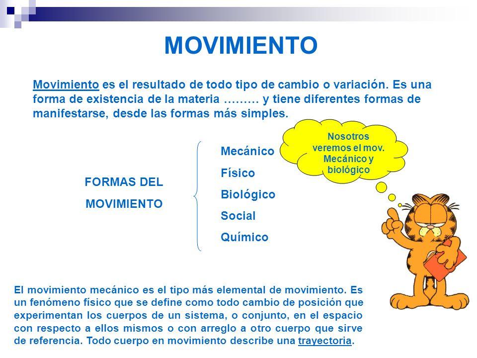 MOVIMIENTO Movimiento es el resultado de todo tipo de cambio o variación. Es una forma de existencia de la materia ……… y tiene diferentes formas de ma