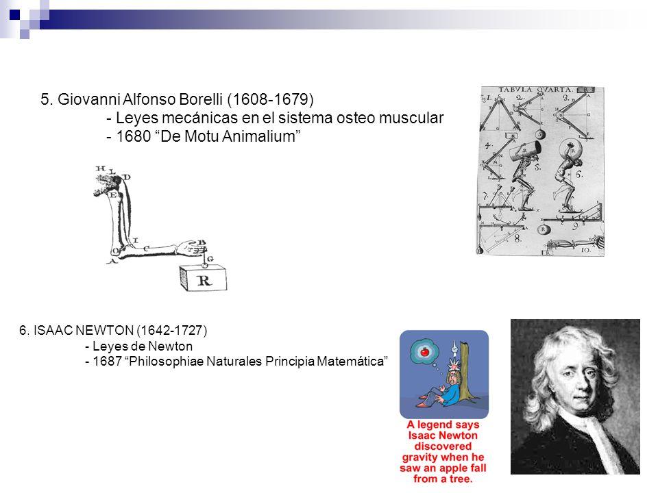 6. ISAAC NEWTON (1642-1727) - Leyes de Newton - 1687 Philosophiae Naturales Principia Matemática 5. Giovanni Alfonso Borelli (1608-1679) - Leyes mecán