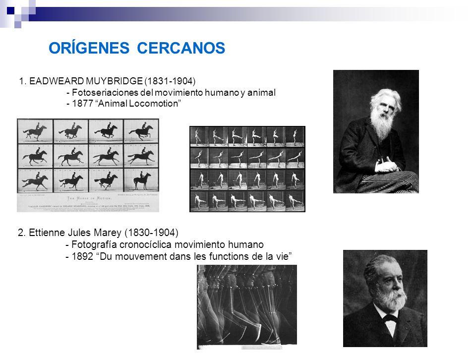 ORÍGENES CERCANOS 1. EADWEARD MUYBRIDGE (1831-1904) - Fotoseriaciones del movimiento humano y animal - 1877 Animal Locomotion 2. Ettienne Jules Marey