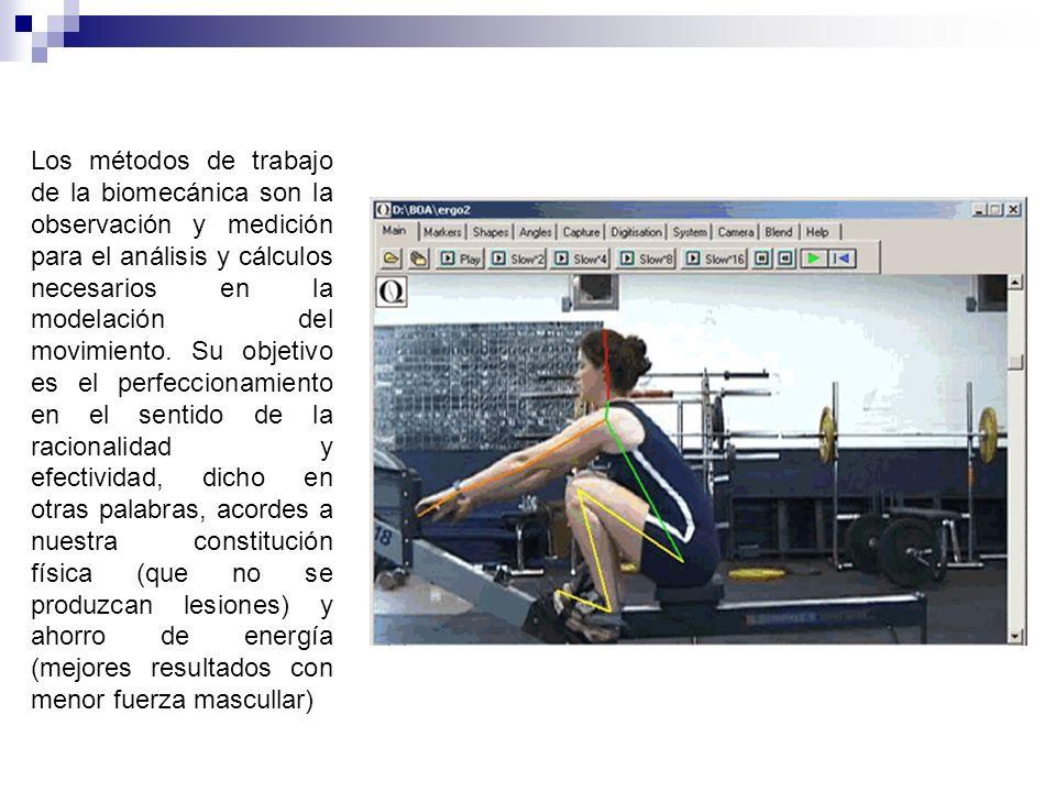 Los métodos de trabajo de la biomecánica son la observación y medición para el análisis y cálculos necesarios en la modelación del movimiento. Su obje