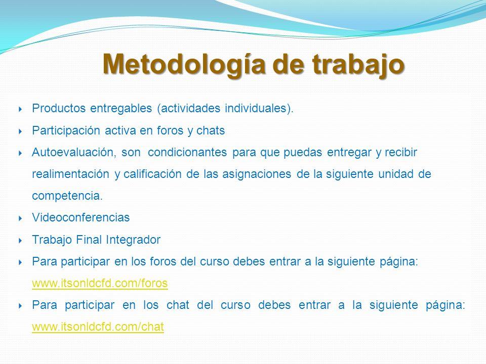Metodología de trabajo Productos entregables (actividades individuales). Participación activa en foros y chats Autoevaluación, son condicionantes para