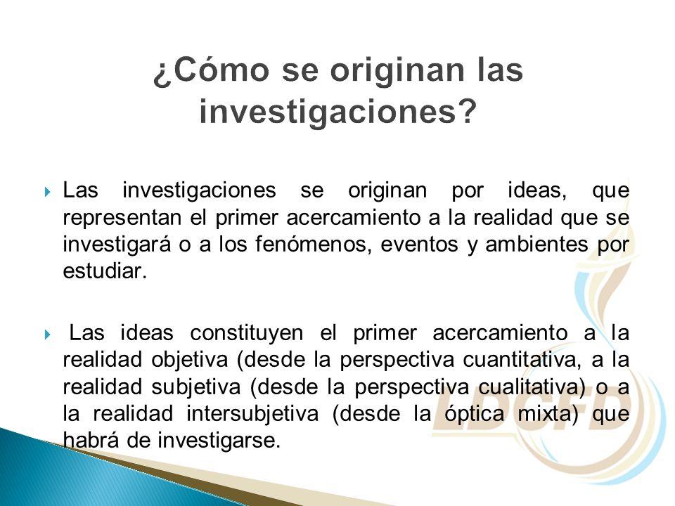 Las investigaciones se originan por ideas, que representan el primer acercamiento a la realidad que se investigará o a los fenómenos, eventos y ambien