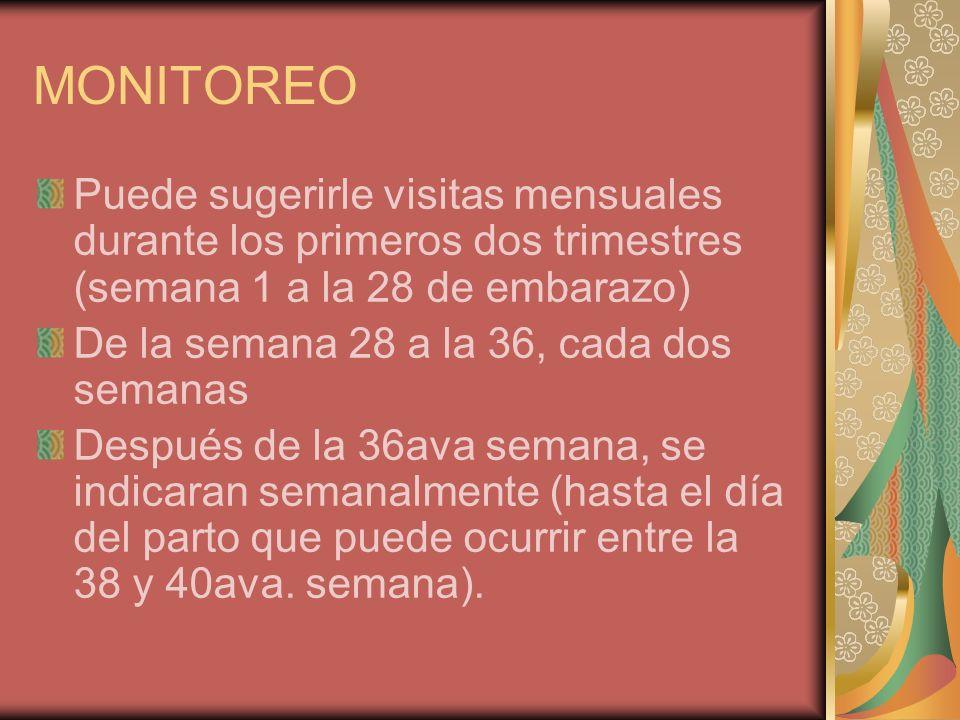 MONITOREO Puede sugerirle visitas mensuales durante los primeros dos trimestres (semana 1 a la 28 de embarazo) De la semana 28 a la 36, cada dos seman