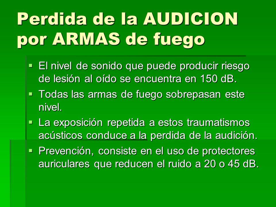 Perdida de la AUDICION por ARMAS de fuego El nivel de sonido que puede producir riesgo de lesión al oído se encuentra en 150 dB. El nivel de sonido qu
