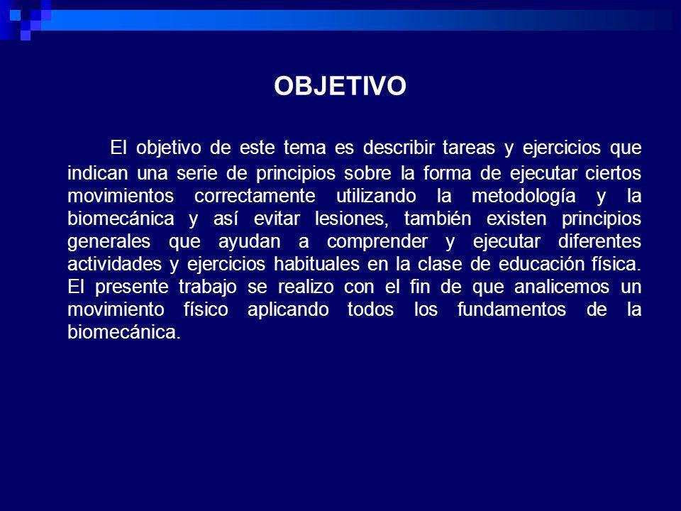 OBJETIVO El objetivo de este tema es describir tareas y ejercicios que indican una serie de principios sobre la forma de ejecutar ciertos movimientos