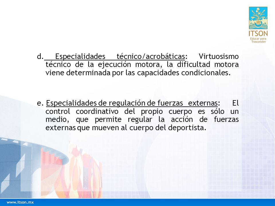 Dosificación del ejercicio a partir del estado físico general Escalones de Schannabel, para la técnica/coordinación: f.