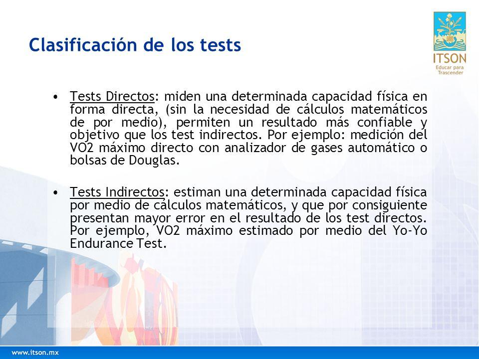 Clasificación de los tests Cabe aclarar que un test no es directo o indirecto por el hecho de ser tomado en el campo (son complementarios no sustituto) o laboratorio.
