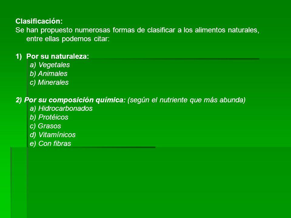 Clasificación: Se han propuesto numerosas formas de clasificar a los alimentos naturales, entre ellas podemos citar: 1)Por su naturaleza: a) Vegetales