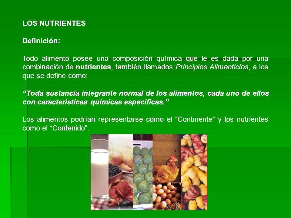 LOS NUTRIENTES Definición: Todo alimento posee una composición química que le es dada por una combinación de nutrientes, también llamados Principios A
