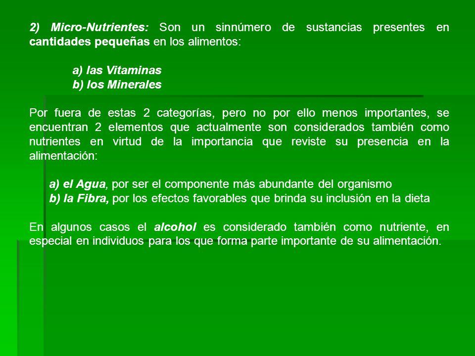 2) Micro-Nutrientes: Son un sinnúmero de sustancias presentes en cantidades pequeñas en los alimentos: a) las Vitaminas b) los Minerales Por fuera de