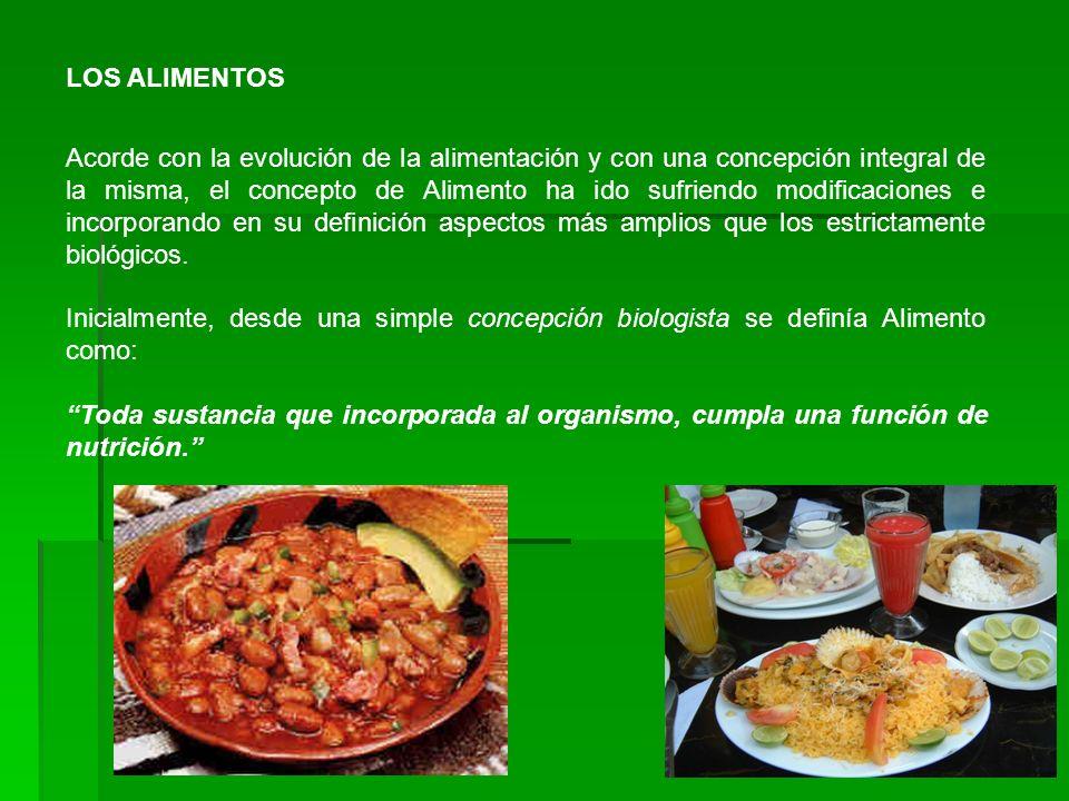 LOS ALIMENTOS Acorde con la evolución de la alimentación y con una concepción integral de la misma, el concepto de Alimento ha ido sufriendo modificac