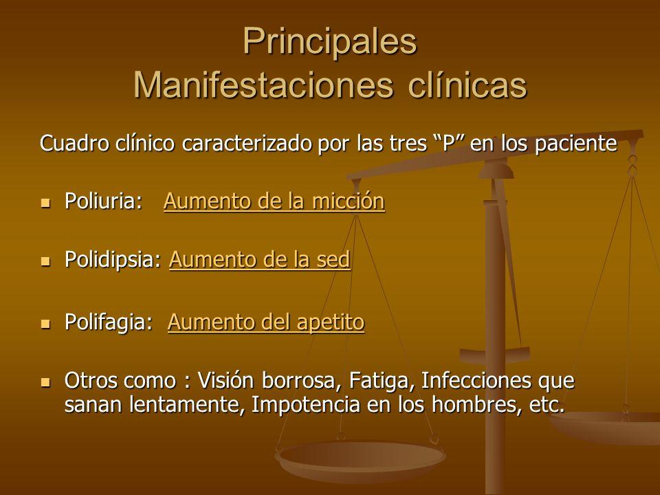 Principales Manifestaciones clínicas Cuadro clínico caracterizado por las tres P en los paciente Poliuria: Aumento de la micción Poliuria: Aumento de